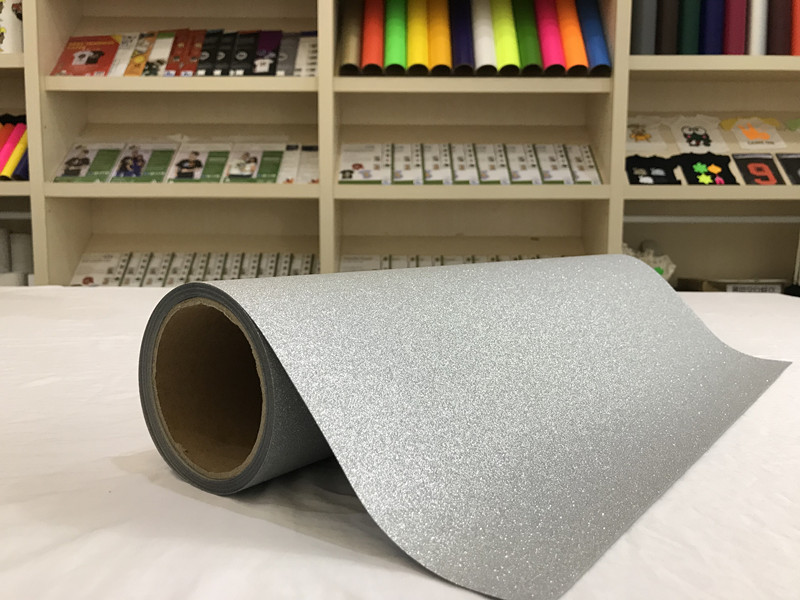 HTS-300SGL Glitter Silver Eco-solvent Printable PU Flex Vinyl Rolls